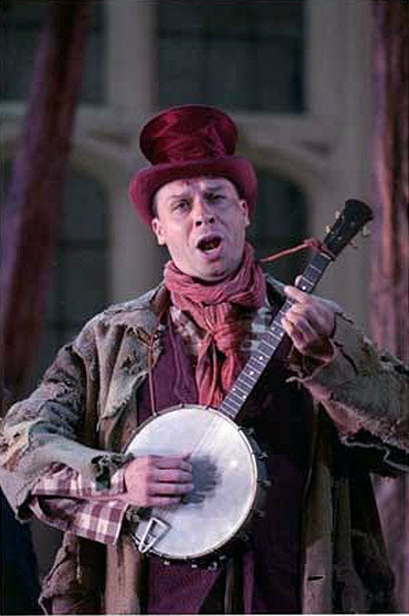 Timothy Dawkins, bass, as Jake Wallace in La Fanciulla del West at Holland Park