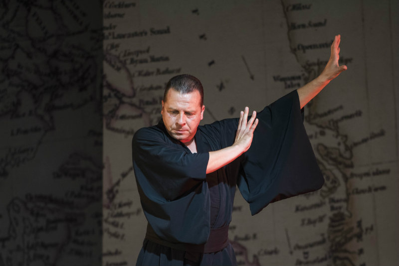 Timothy Dawkins, bass, as The Bonze in Madama Butterfly for West Green House Opera